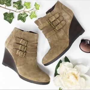 FRANCO SARTO suede wedge ankle booties buckle
